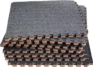 Dooboe Interlocking Foam Mats - Interlocking Carpet Tiles - Neutral Play Mat - Gray Floor Tiles - Premium Foam Mat with Borders - Soft, Non-Toxic