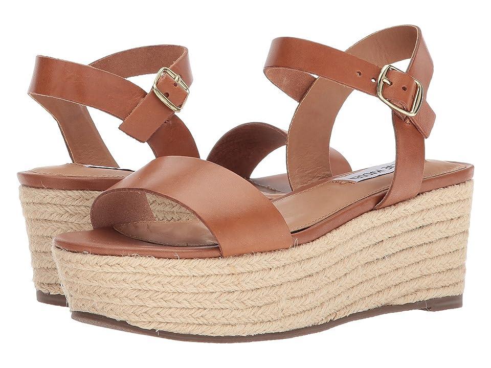 Steve Madden Busy Platform Espadrille Sandal (Cognac Leather) Women