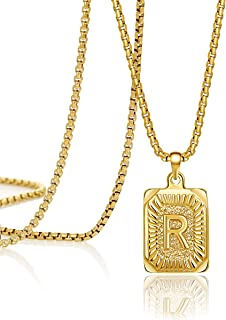 JoycuFF قلادة الذهب الأولي للرجال النساء قلادة القلائد لطيف فريد أزياء عصرية مربعة اليدوية للمراهقات الأولاد شخصية اسم R