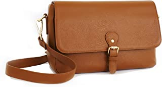 DSLR Camera Bag for Women, Stylish Premium Tan Leather Messenger Crossbody Camera Case with Shockproof Padded Insert for Travel, Fits Canon Nikon Sony Olympus Digital SLR and Mirrorless By Meliae