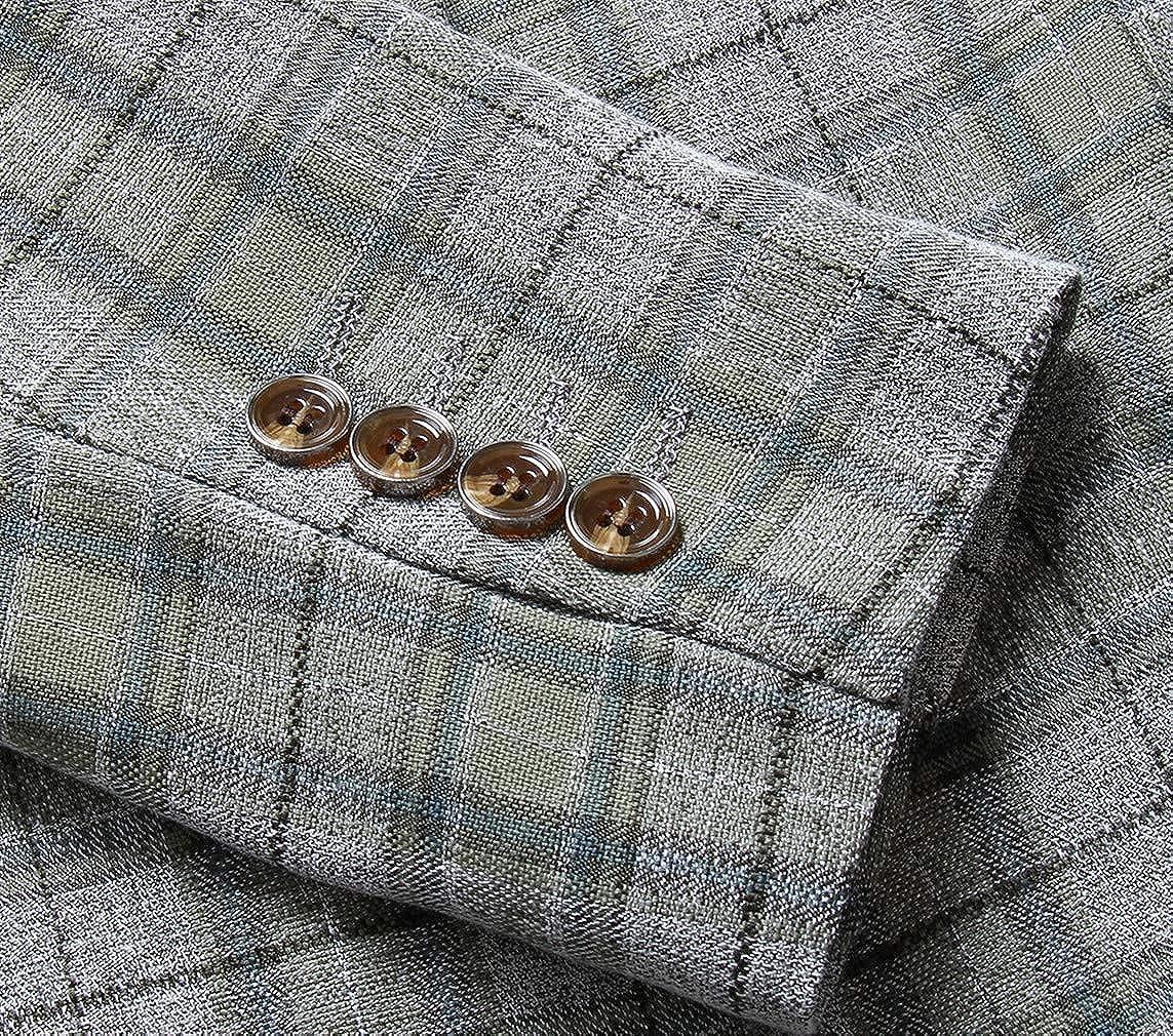 MOGU Herren One Button Slim Fit Plaid Anzug Blazer Weste Hosen
