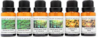 Crazy Candles 6 Bottle Set (Made in USA) 2 Balsam & Cedar, 2 Christmas Tree, 2 Christmas Trees in The Snow 1/2 Fl Oz Each (15ml) Premium Grade Scented Fragrance Oils