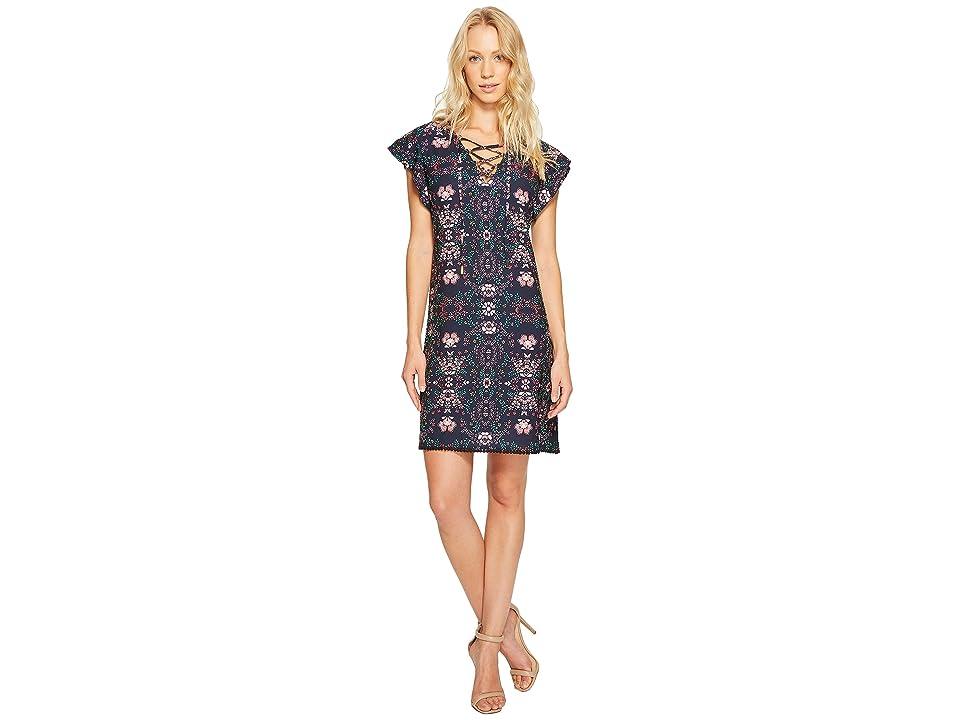 Jessica Simpson Printed Lace-Up Dress JS7A9420 (Print) Women