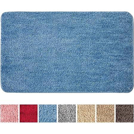 MIULEE Alfombra de Baño Antideslizante Absorbente Microfibra Alfombrilla Baño Lavable a Máquina Alfombra Ducha Baño Cocina Puertas de Entrada Pasillo para Dormitorio Salon Modernas 40x60 cm Azul