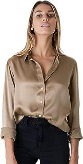 CAMIXA Women 100% Silk Blouse Long Sleeve Ladies Shirt Satin Charmeuse Work Top