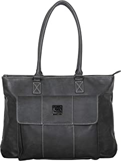 """Women's Casual Fling Pebbled Faux Leather Top Zip 16"""" Business Travel Tote"""