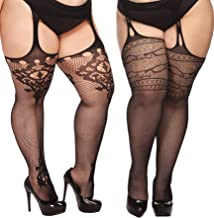 TGD Plus Size Stockings for Women Suspender Pantyhose Fishnet Tights Black 2 Pairs Thigh High Stocking (Fit US 8-16)