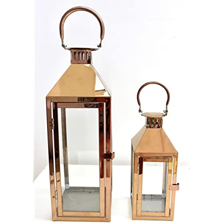 Set Of 2 Copper Colour Metal Candle Holder Lanterns 43 Cm Tall 26 Cm Tall Amazon Co Uk Kitchen Home