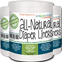Bamboo Diaper Liners 600 Sheet Pack, Disposable, Fragrance Free, Chlorine Free, Compostable, Biodegradable Inserts, Dye Free, Cloth Diaper Set of Three Rolls, Bamboo Viscose