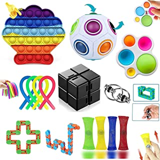 Fidget Toys Pack, Fidget Toys Simple Dimple Fidget Toy pour Soulager le Stress et l'anxiété, Anti Stress Jouet pour Enfant...