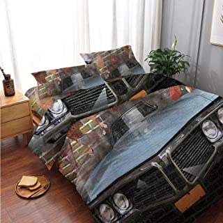 Cars Comfortable 4 Piece Bedding Set,Graffiti Featured Graphic of Crashing Automobile on A Brick Wall Underground Street Style for Bedroom,Double Side Print:Double