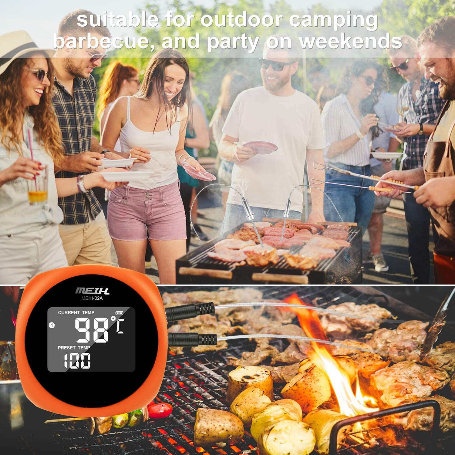 BBQ ESPER Wireless Meat Thermometer for Grilling Digital Grill Thermometer with 2 Probes Alarm Monitor BBQ Cooking Thermometer for Smoker Orange Timer Oven Kitchen-Waterproof