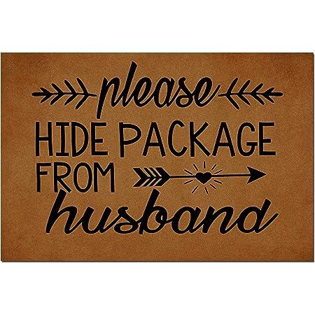 """MOMOBO Funny Doormat with Rubber Back -Please Hide Package from Husband Door Mat Entrance Way Doormat Non Slip Backing Funny Doormat Indoor Outdoor Rug 23.6""""(W) X 15.7""""(L)"""