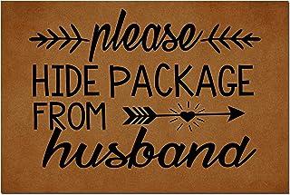 MOMOBO Funny Doormat with Rubber Back -Please Hide Package from Husband Door Mat Entrance Way Doormat Non Slip Backing Fun...