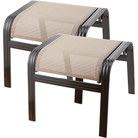 Deguifei Outdoor Patio Footstools Aluminum Outdoor Ottomans Footrest Small Seat Wicker Furniture Patio Ottoman 2 Pieces Brown