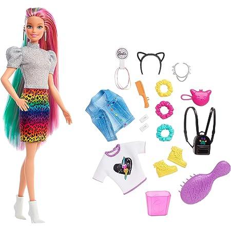 Barbie - Bambola Bionda con Capelli Arcobaleno, Cerchietto e Borsa a Forma di Gatto e Accessori a Tema Leopardo, Giocattolo per Bambini 3+Anni, GRN81