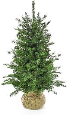 artplants.de Sapin de Noël Artificiel Wellington, Sac de Jute Marron, 50 LED, 90cm, Ø 65cm - Arbre de Noël Artificiel - Sapin