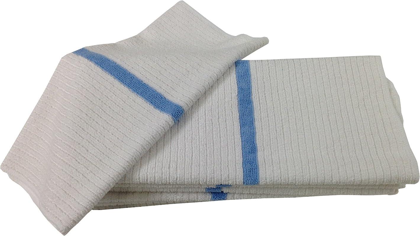 Nouvelle Legende 14 X 18in Ribbed Bar Mop Microfiber Towels 12 Pack Blue Stripe