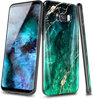 NageBee Case for Samsung Galaxy S8+ Plus, Ultra Slim Thin Glossy Stylish Protective Cover Phone Case -Emerald Marble
