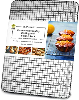 Ultra Cuisine 100% Stainless Steel Wire Cooling Rack for Baking fits Half Sheet Pans Cool..