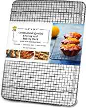 Ultra Cuisine 100% Stainless Steel Wire Cooling Rack for Baking fits Half Sheet Pans Cool Cookies, Cakes, Breads - Oven Sa...