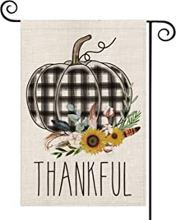 AVOIN Thankful Watercolor Buffalo Plaid Pumpkin Garden Flag Vertical Double Sized, Fall Thanksgiving Harvest Rustic Burlap Yard Outdoor Decoration 12.5 x 18 Inch