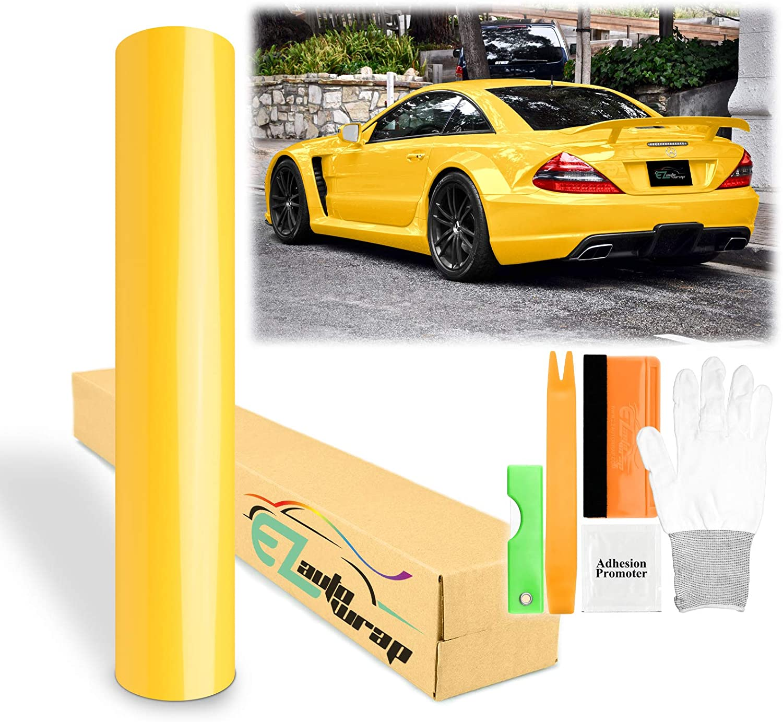 Free Tool Kit EZAUTOWRAP Gloss Yellow National products Vinyl 5 popular Sticker Dec Wrap Car