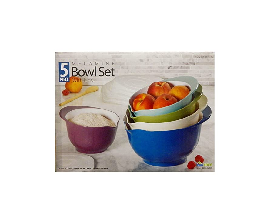 Melamine Mixing Bowl Set with Lids 5Pc BPA Free