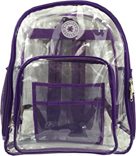 Heavy Duty Clear Backpack See Through PVC Stadium Security Transparent Workbag | Purple