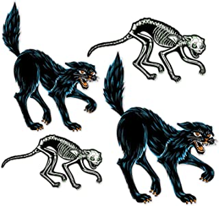 Beistle 00460 Vintage Halloween Cats 4 Piece Decorations Spooky, Wall Décor, 19