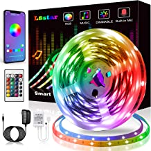 LED Strip Lights, KIKO Smart Color Changing LED Lights 16.4ft/5m SMD 5050 RGB Light Strips with Bluetooth Controller Sync ...