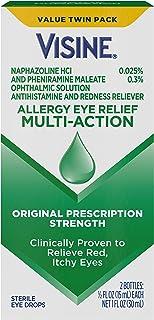 Visine Allergy Relief Multi-Action Antihistamine Eye Drops, Twin Pack, (2 Count of 0.5 Fl Oz Bottles Each) 1 Fl Oz