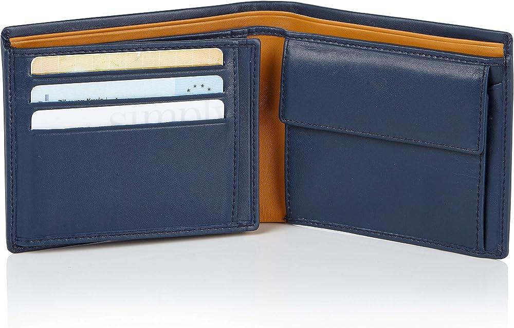 Visconti, porta carte di credito, portafoglio per uomo, in vera pelle, con protezione rfid PM7