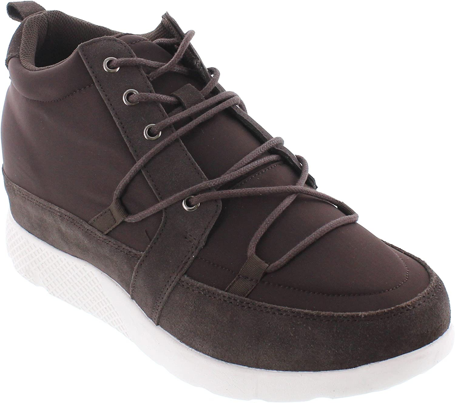 CALTO H7211-3.2 inches Taller - Height Increasing Elevator shoes - Dark Brown Fashion Sneakers