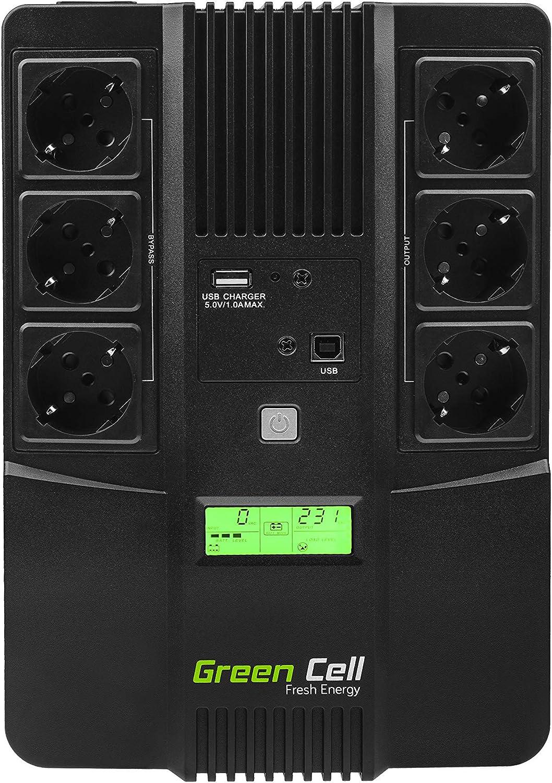 1200W 230V Alimentatore protezione da sovratensioni line interactive AVR USB//RJ45 4X Schuko Uscite con Display LCD Green Cell/® Gruppo di continuit/à UPS Potenza 2000VA