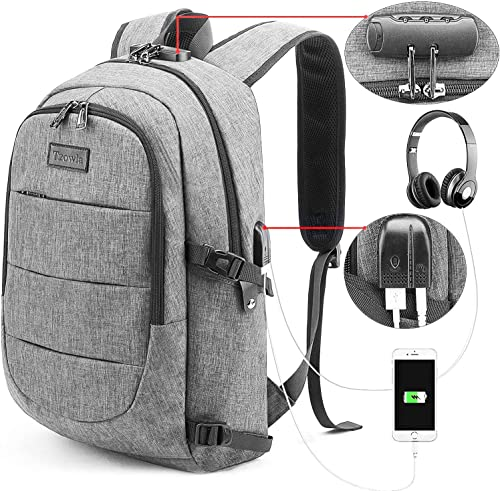 Tzowla Business Laptop Backpack Water Resistant Anti-Theft College Backpack with USB Charging Port and Lock 15.6 Inch Computer Backpacks for Women Girls, Casual Hiking Travel Daypack (Gray) product image