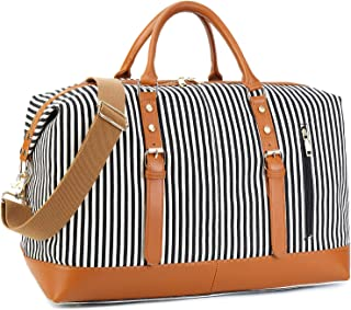 Weekend Travel Bag Women Ladies Duffle Tote Bags PU Leather Trim Canvas Overnight Bag Luggage (Black)