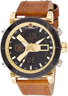 Naviforce Men's Gold Dial Genuine Leather Analogue Classic Watch - NF9132-GGLBN