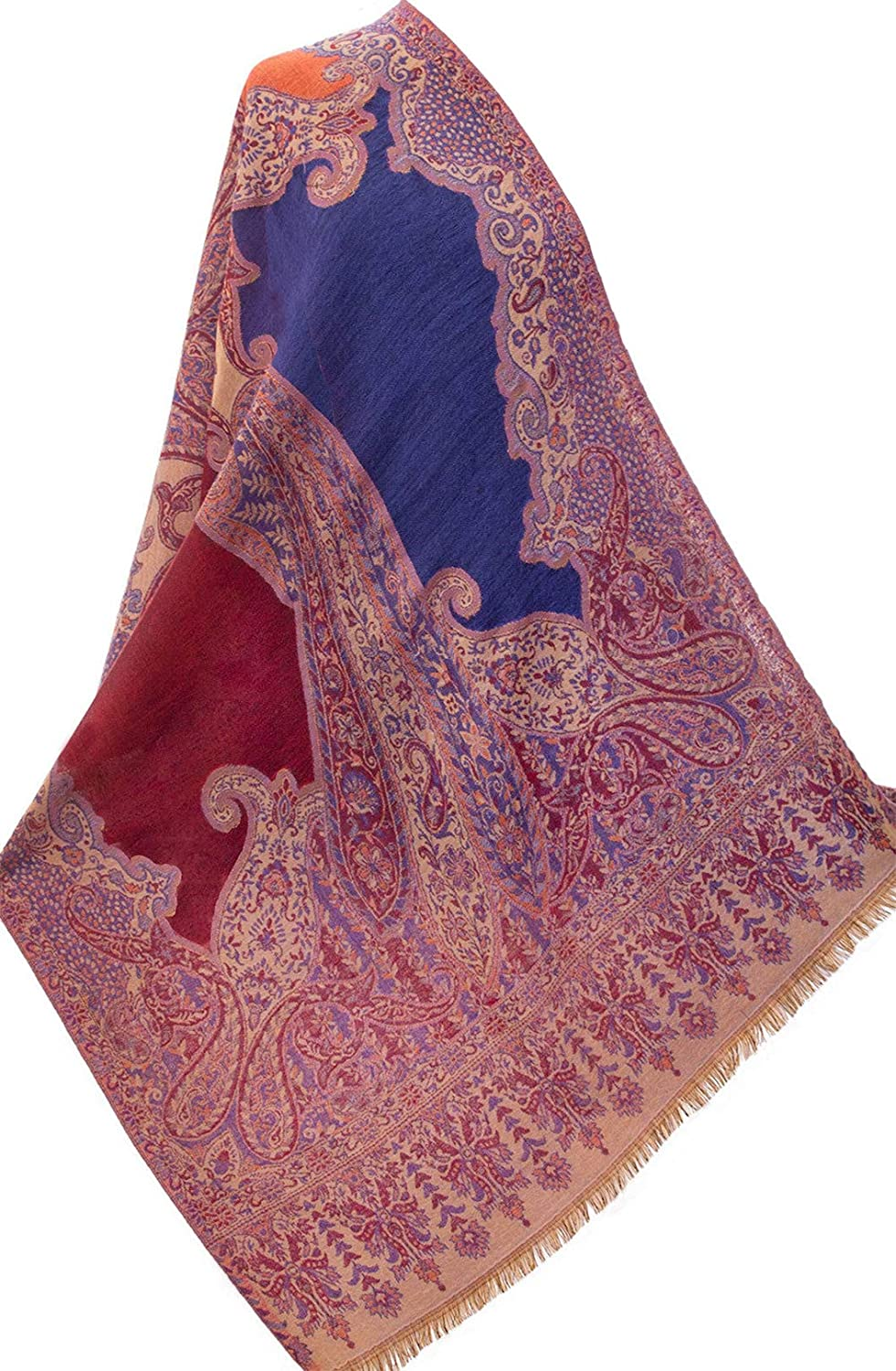Purple Jamawar Paisely Pashmina Stole Wool Jamawar India 80x28  Kashmir Shawl
