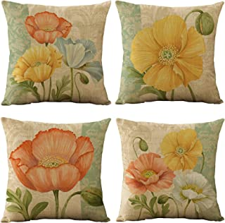 WOMHOPE Set of 4 Vintage Spring Flower Decorative Throw Pillow Covers Pillow Cases Cushion Cases Burlap Toss Throw Pillow ...