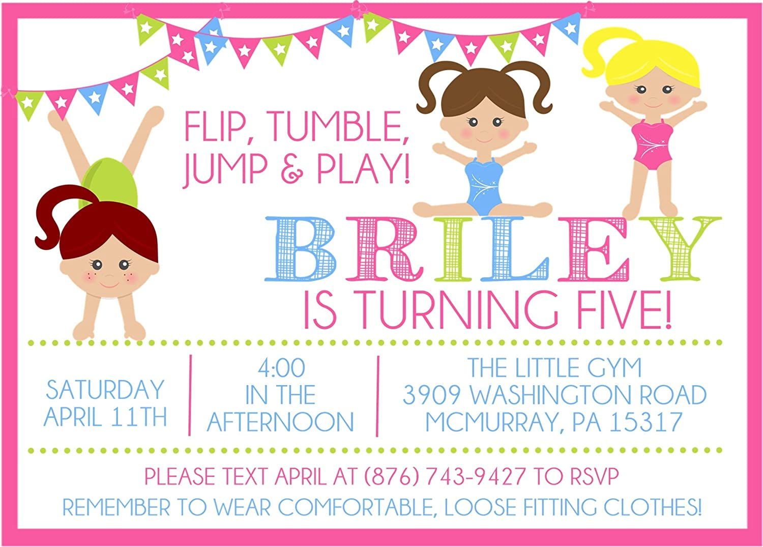 Gymnastics Birthday Party Invitations For Max 69% OFF Today's only Girls Envelopes With