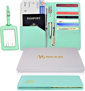MUST N' GO! RFID Passport Holder for Women - Travel Passport Wallet RFID Blocking and Luggage Tag Set - Elegant Gift Box - Sky Green