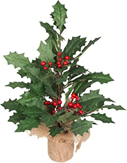 VGIA 19 inch Mini Christmas Tree Artificial Holly Leaf Tree with a Burlap Bag Base