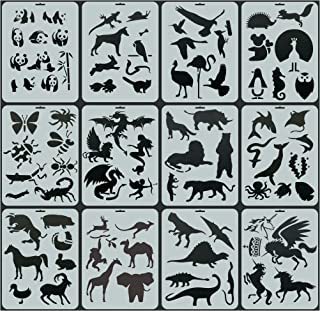 Funny live 12Pcs Animals Shapes Reusable Plastic Stencils Drawing Stencils Animals Template Sets for Kids, 84 Animal Patte...