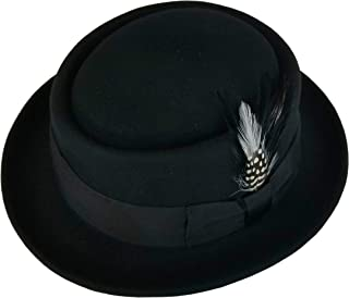 Men's Crushable Wool Felt Porkpie Fedora Hats Black DTHE09