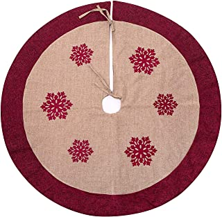 SANNO Christmas Tree Skirt, 48 inch Linen Tree Skirt Snowflakes Burlap Rustic Xmas Tree Decorations Skirts Holiday Ornaments,Double Fabric Beige with Red Edge