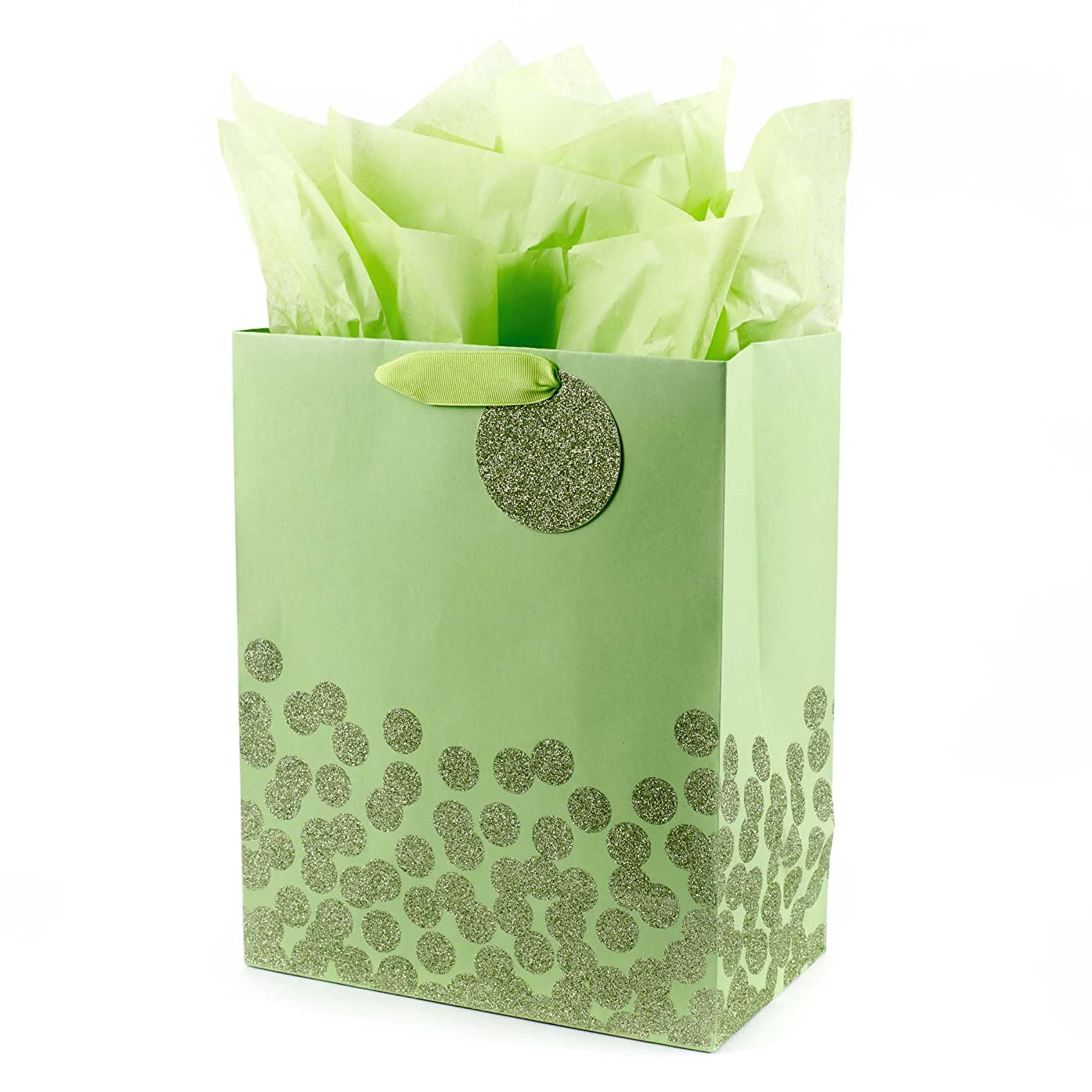 Hallmark Large Gift Bag with Tissue (Green Dots)