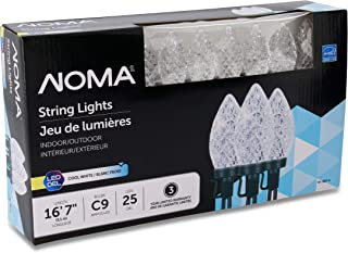 NOMA LED Christmas Lights | 25-Count C9 Clear Cool White Bulbs | 16' 8
