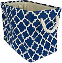 """DII Collapsible Polyester Storage Basket or Bin with Durable Cotton Handles, Home Organizer Solution for Office, Bedroom, Closet, Toys, Laundry (Medium - 16x10x12""""), Navy Lattice"""