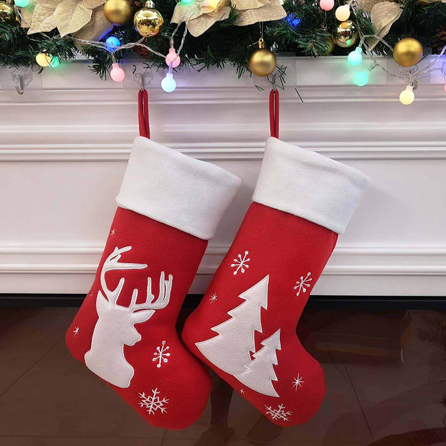 Now on sale Houwsbaby 2 Pcs Christmas Stockings Set Arlington Mall Thick X Holders Reindeer